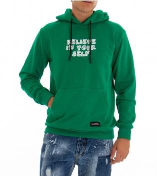 Felpa Uomo Black Svnday Tinta Unita Verde Stampa Tasche Cappuccio GIOSAL