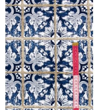 Tessuto Arredo Casa Cotone Fantasia Floreale Quadri Blu Vari Colori Scampolo Al Metro Tovaglia GIOSAL