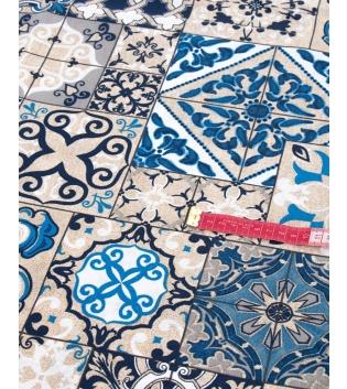 Tessuto Arredo Casa Cotone Fantasia Floreale Blu Vari Colori Tovaglia Scampolo Al Metro GIOSAL
