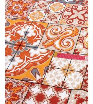 Tessuto Arredo Casa Cotone Fantasia Floreale Arancione Vari Colori Tovaglia Scampolo Al Metro GIOSAL