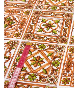 Tessuto Arredo Fantasia Floreale Arancione Vari Colori Tovaglia Scampolo Al Metro GIOSAL