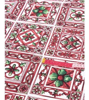 Tessuto Arredo Fantasia Floreale Rosso Vari Colori Tovaglia Scampolo Al Metro GIOSAL