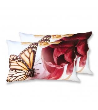 Coppia Federe Per Guanciale Butterflies Farfalle Fiori Love Sleeping Stampa Digitale 3D Cotone GIOSAL