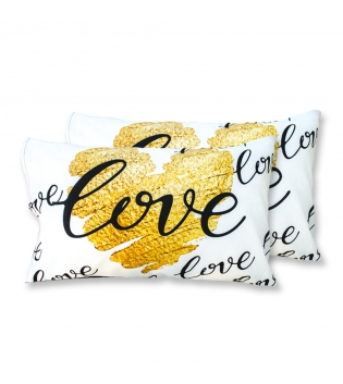 Coppia Federe Per Guanciale Gold Heart I Love Sleeping Stampa Digitale 3D Cotone GIOSAL