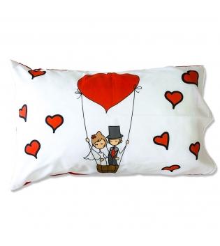Coppia Federe Per Guanciale Honeymoon Sposi I Love Sleeping Stampa Digitale 3D Cotone GIOSAL