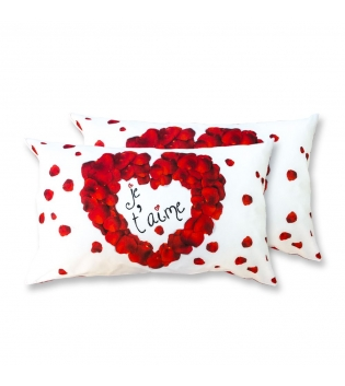 Coppia Federe Per Guanciale Je T'Aime Amour I Love Sleeping Stampa Digitale 3D Cotone GIOSAL