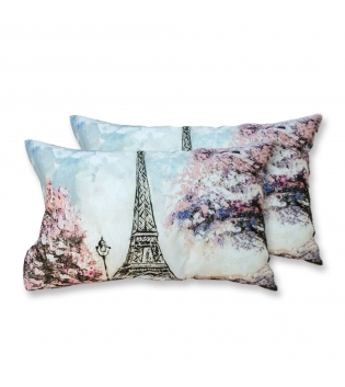 Coppia Federe Per Guanciale Pink Paris Tour Eiffel I Love Sleeping Stampa Digitale 3D Cotone GIOSAL