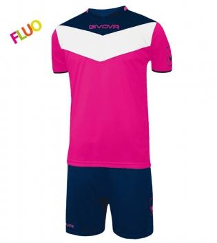 Kit Calcio GIVOVA Campo Fluo Completino Football Sport Sportivo GIOSAL-FuxiaFluo-Blu-2XS