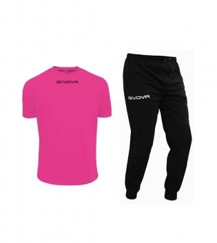 Outfit Givova Uomo Donna Bambino Completo Tuta T-Shirt Pantalone Fucsia Nero Givova One Unisex GIOSAL-Fucsia/Nero-S