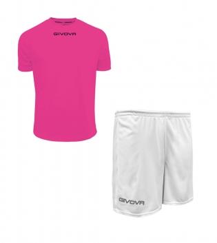 Outfit Givova Completo Pantaloncini T-Shirt Givova One Fucsia Bianco Uomo Donna Bambino GIOSAL