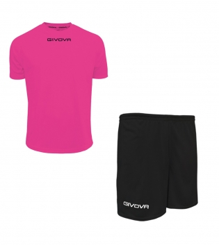 Outfit Givova Completo Pantaloncini T-Shirt Givova One Fucsia Nero Unisex Uomo Donna Bambino GIOSAL