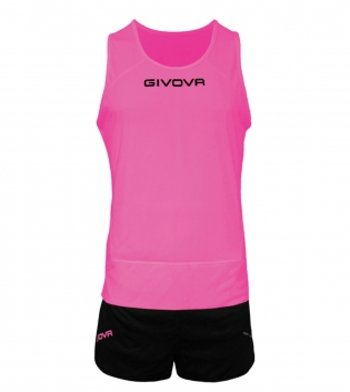 Kit New York GIVOVA Unisex Uomo Donna Athletics Running Sport Sportivo GIOSAL-Fucsia/Nero-XS