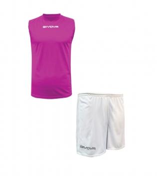 Outfit Givova Completo Bermuda Fuxia Bianco Givova One Shirt Smanicato Donna Uomo Unisex GIOSAL