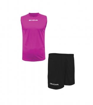 Outfit Givova Completo Bermuda Fuxia Nero Givova One Shirt Smanicato Donna Uomo Unisex GIOSAL
