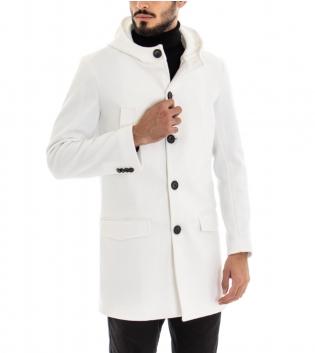 Cappotto Uomo Cappuccio Bianco Tinta Unita Giacca Taglio Classico Casual GIOSAL