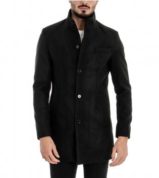Cappotto Uomo Classico Colletto Giacca Tinta Unita Nero Giaccone Elegante GIOSAL