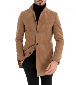 Cappotto Uomo Classico Colletto Giacca Tinta Unita Camel Giaccone Elegante GIOSAL