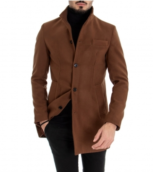 Cappotto Uomo Classico Colletto Giacca Tinta Unita Tabacco Giaccone Elegante GIOSAL