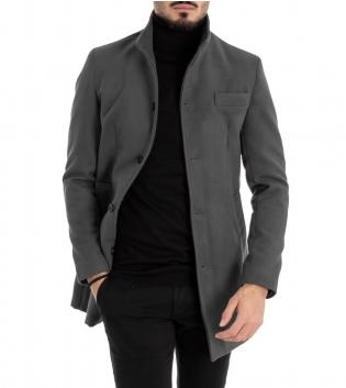 Cappotto Uomo Classico Colletto Giacca Tinta Unita Grigio Scuro Giaccone Elegante GIOSAL