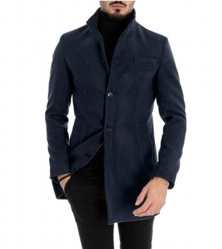 Cappotto Uomo Classico Colletto Giacca Tinta Unita Blu Giaccone Elegante GIOSAL
