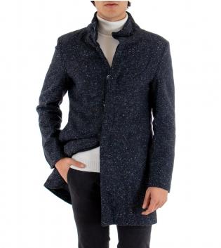 Cappotto Giacca Uomo Giaccone Puntinato Blu Giubbotto Effetto Multicolore GIOSAL