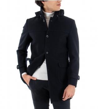 Cappotto Uomo Maniche Lunghe Tinta Unita Blu Cappuccio Tasche Elegante GIOSAL
