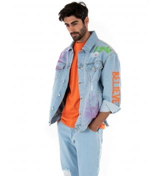 Giubbotto Uomo Maniche Lunghe Jeans Rotture Scritte Multicolore Casual GIOSAL
