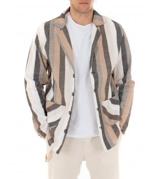 Giacca Uomo Camicia Rigata Colletto Maniche Lunghe Tasche Paul Barrell Multicolore Marrone GIOSAL-Multicolore-S