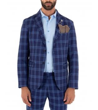 Giacca Uomo Monopetto Quadri Blu Maniche Lunghe Elegante Taschino Pochette GIOSAL