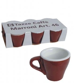 Tazzine Da Caffè Set Da 6 Marrone Bar Porcellana  Interno Bianco GIOSAL