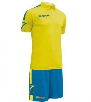 Kit Play Calcio Sport GIVOVA Abbigliamento Sportivo Uomo Calcistico GIOSAL-Giallo-Azzurro-M