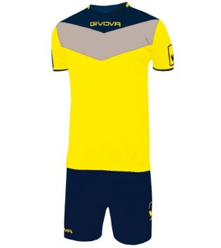 Kit Calcio GIVOVA Campo Completino Football Sport Sportivo Uomo Bambino GIOSAL-Giallo/Blu-3XS