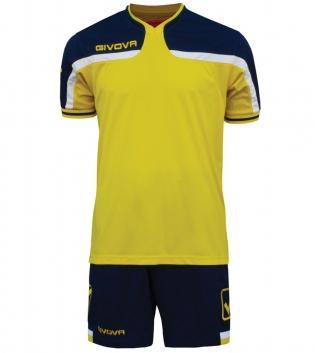 Kit Uomo Sport Calcio GIVOVA America Completino Calcetto GIOSAL-Giallo/Blu-4XS
