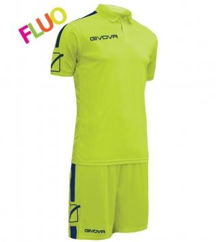 Kit Play Calcio Sport GIVOVA Abbigliamento Sportivo Uomo Calcistico GIOSAL-GialloFluo/Blu-M