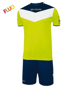 Kit Calcio GIVOVA Campo Fluo Completino Football Sport Sportivo GIOSAL-GialloFluo/Blu-2XS