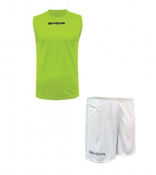 Outfit Givova Completo Bermuda Giallo Fluo Bianco Givova One Shirt Smanicato Donna Uomo Unisex GIOSAL