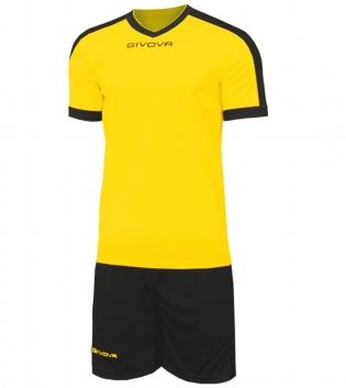 Kit Revolution Calcio Sport GIVOVA Abbigliamento Sportivo Uomo Calcistico GIOSAL-Giallo/Nero-4XS
