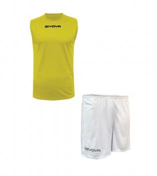 Outfit Givova Completo Bermuda Givova One Shirt Giallo Bianco Smanicato Donna Uomo Unisex GIOSAL