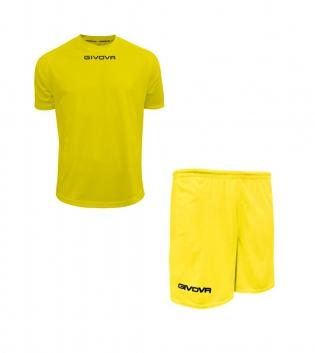 Outfit Givova Completo Pantaloncini T-Shirt Givova One Giallo Uomo Donna Bambino GIOSAL