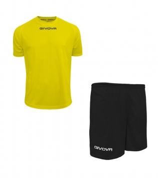 Outfit Givova Completo Unisex Pantaloncini T-Shirt Givova One Giallo Fluo Nero Uomo Donna Bambino GIOSAL
