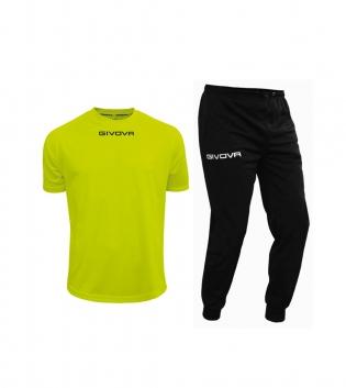Outfit Givova Uomo Donna Bambino Giallo Fluo Nero Completo Tuta T-Shirt Pantalone Givova One Unisex GIOSAL