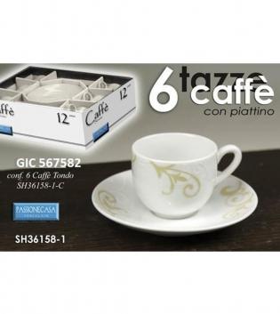 Tazzine Caffè Set Da 6 Decorazioni Beige Con Piattino Porcellana GIOSAL
