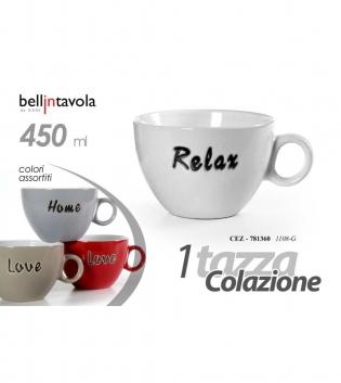Tazza Da Latte Colori Assortiti Scritta 450ml Bellintavola 4 Pezzi Colazione GIOSAL