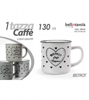 Tazzina Da Caffè Bistrot 130ml Colori Assortiti 1 Pezzo Porcellana Bellintavola GIOSAL