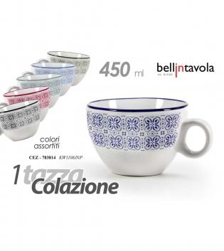 Tazza Colazione Da Latte Colori Assortiti 450ml 1 Pezzo Bellintavola Porcellana GIOSAL