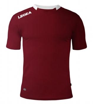 Maglia Sport Calcio LEGEA Monaco Manica Corta Tinta Unita Abbigliamento Sportivo GIOSAL-Granata-Bianco-XS