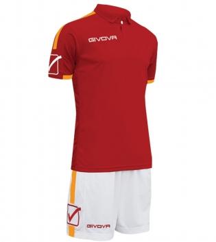 Kit Play Calcio Sport GIVOVA Abbigliamento Sportivo Uomo Calcistico GIOSAL-Granata-Arancio-L