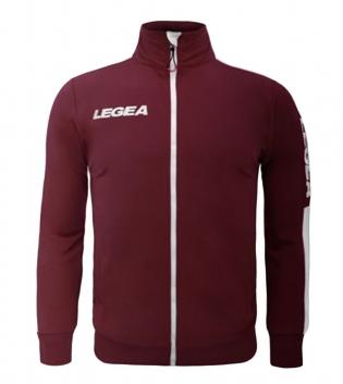 Felpa Uomo California Full Zip Abbigliamento LEGEA Sportivo Uomo Bambino GIOSAL-Granata-Bianco-2XS