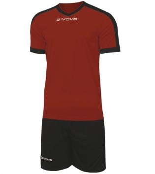 Kit Revolution Calcio Sport GIVOVA Abbigliamento Sportivo Uomo Calcistico GIOSAL-Granata/Nero-4XS