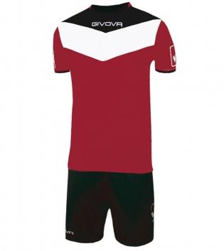 Kit Calcio GIVOVA Campo Completino Football Sport Sportivo Uomo Bambino GIOSAL-Granata/Nero-3XS
